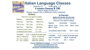 January February 2017 Italian Language Classes
