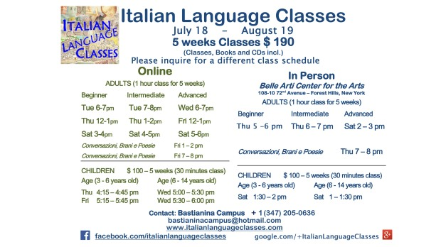 July August 2017 Italian Language Classes