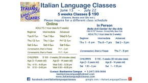 June July 2017 Italian Language Classes