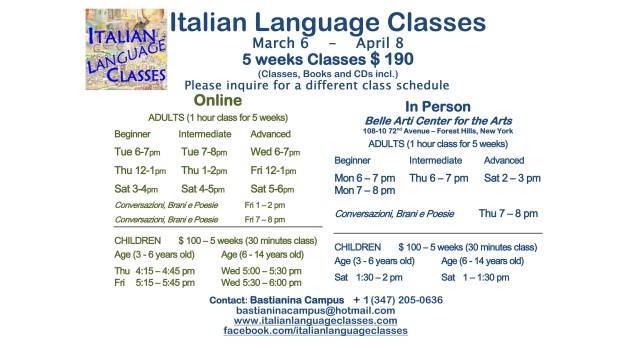 March April 2017 Italian Language Classes