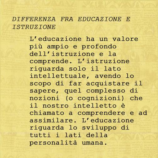 Differenza fra Educazione e Istruzione
