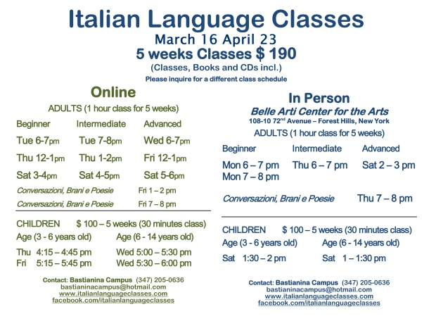 March April Italian Language Classes