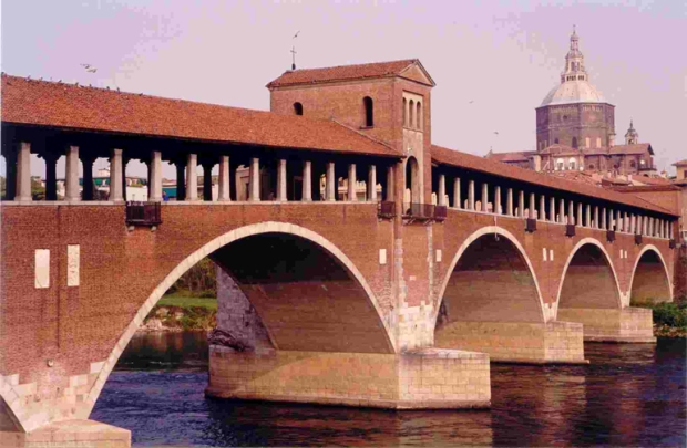 Covered Bridge in Pavia Italy