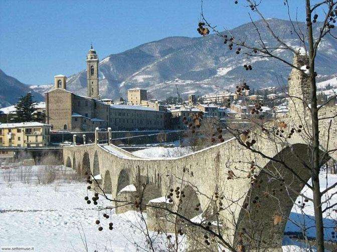 Hunchbacked Bridge In Bobbio In Emilia Romagna Italian Language