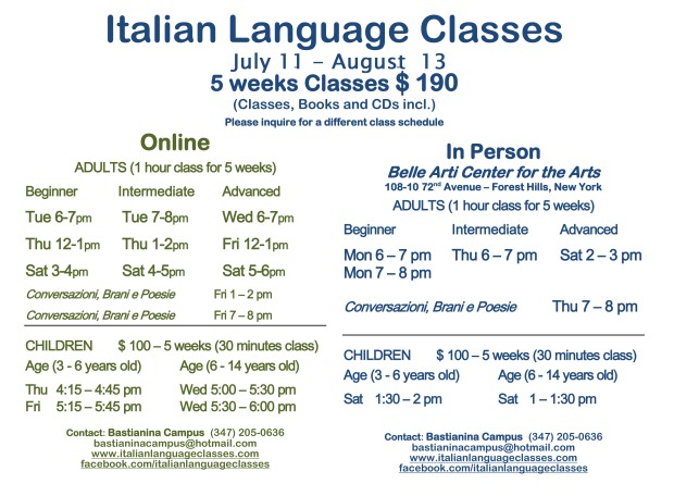 July August 2016 Italian Language Classes
