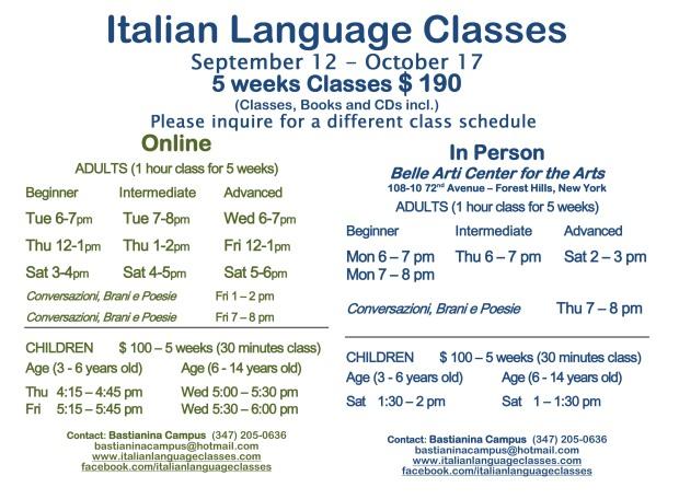 September October 2016 Classes