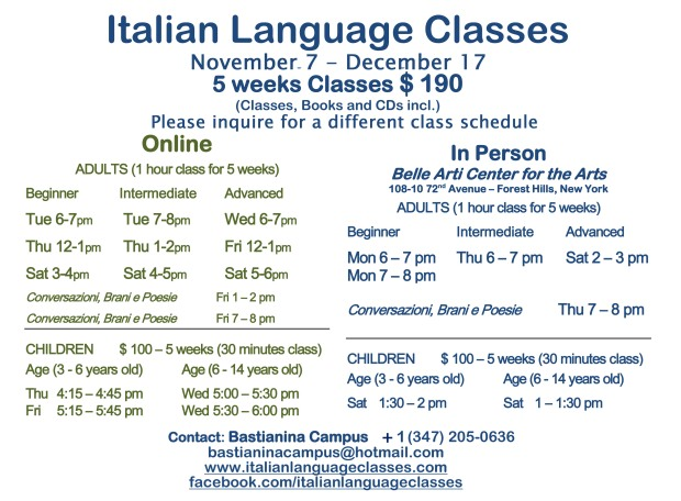 November December Italian Language Classes 2016